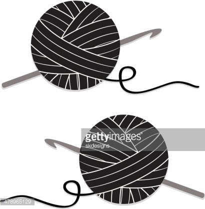 Stylized Ball of Yarn and Crochet Hook, Icon Clipart Image.