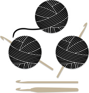 Yarn And Crochet Hook Clipart.