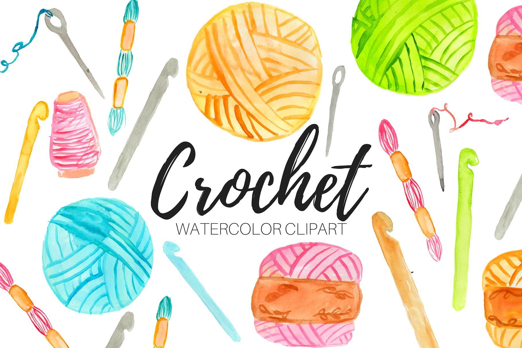 Watercolor Crochet Clipart #backgrounds#Perfect#sticker.