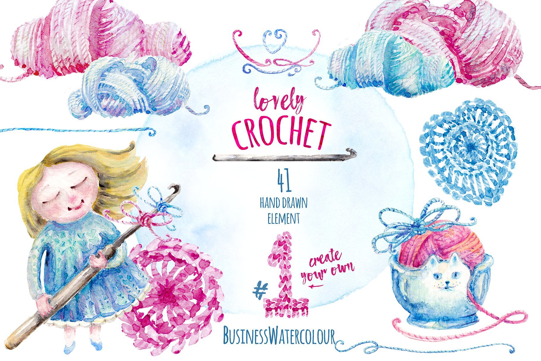 Lovely Crocheting Clipart.