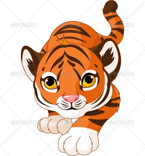 Crouching Baby Tiger.