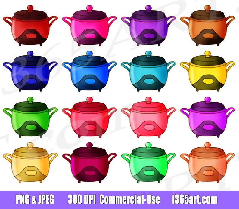 50% OFF Crockpot Clipart Clip art, Crock pot, Slow Cooker, Retro, Cooking,  Dinner, Planner Supplies, Graphics, PNG, Commercial.