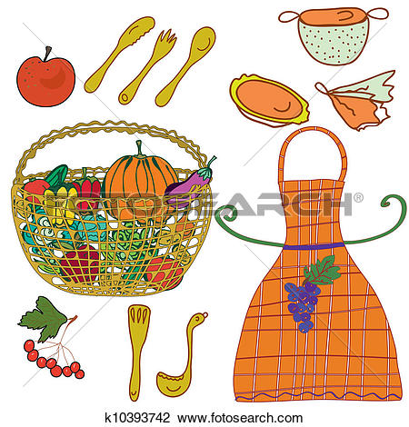 Clip Art of Kitchen set with crockery and vegetables, fruits.