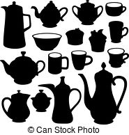 Coffee crockery Clipart Vector Graphics. 526 Coffee crockery EPS.