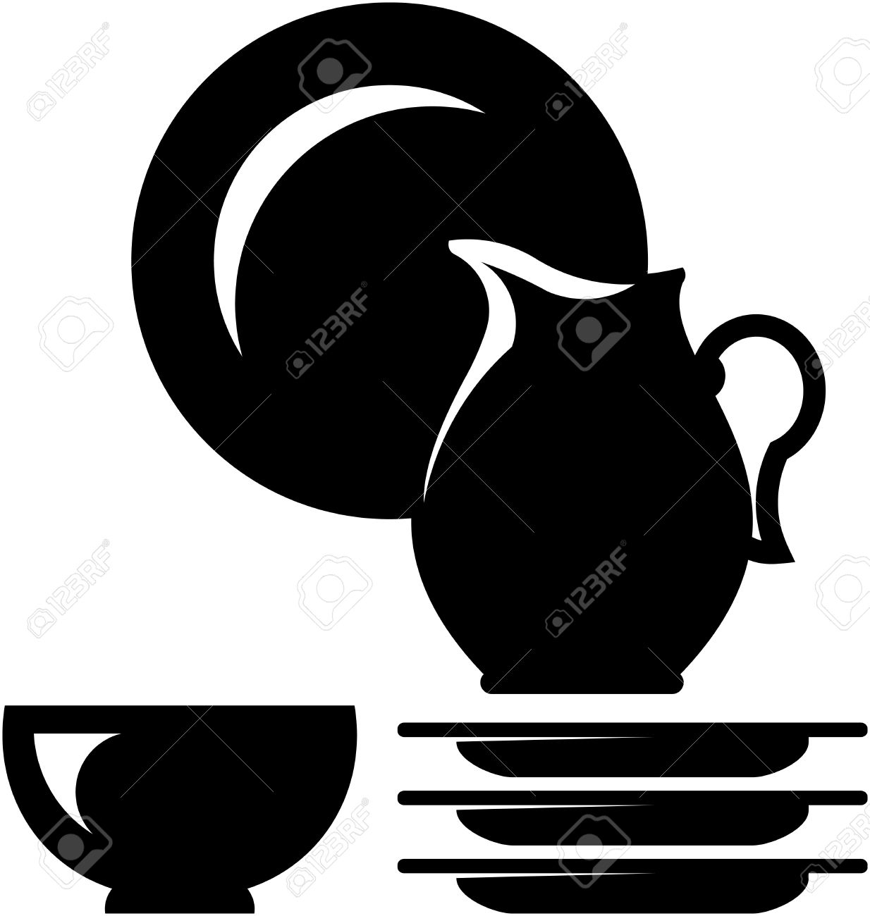 Vector Crockery Illustration.