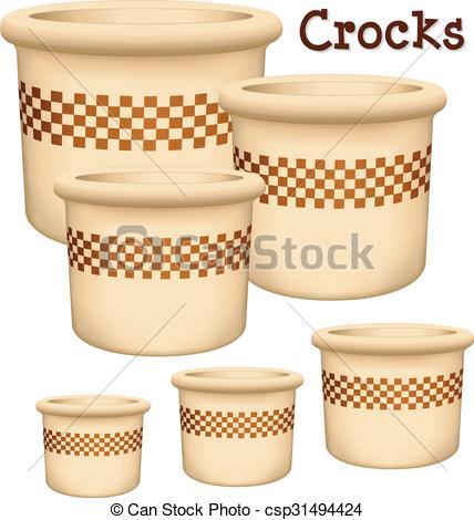 Vector Illustration of Crocks Garden Planters.