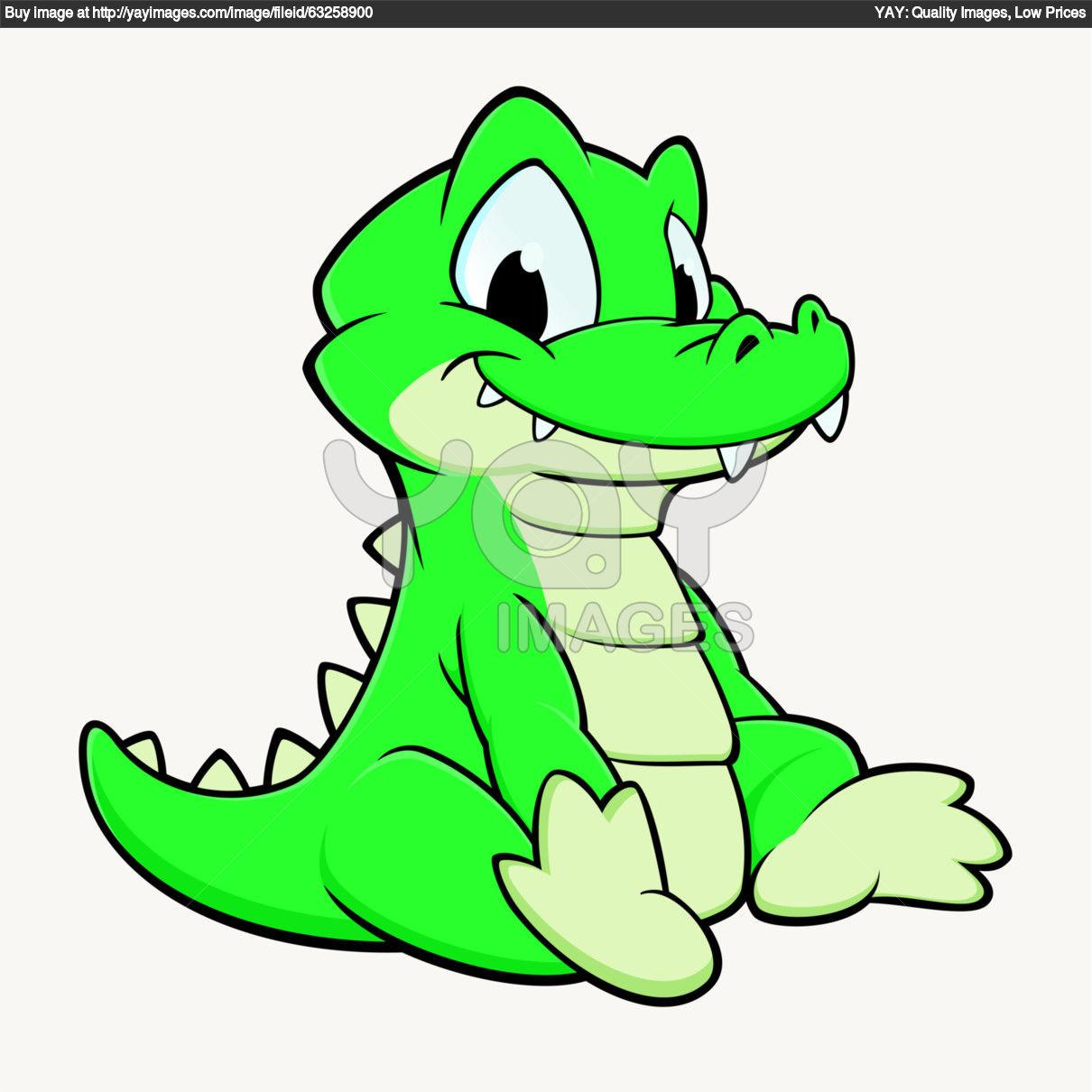 alligator outline : Cartoon crocodile..
