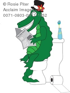 Clipart Illustration of a Crocodile Reading in the Bathroom.