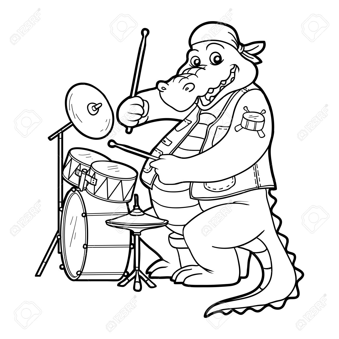Coloring Book For Children: Music Band (crocodile And Drum.