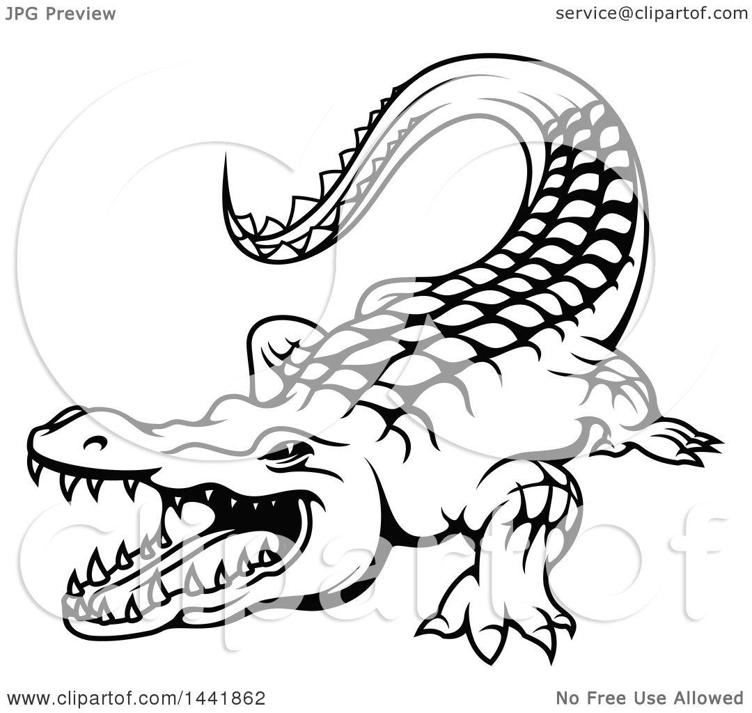 Clipart of a Black and White Crocodile.