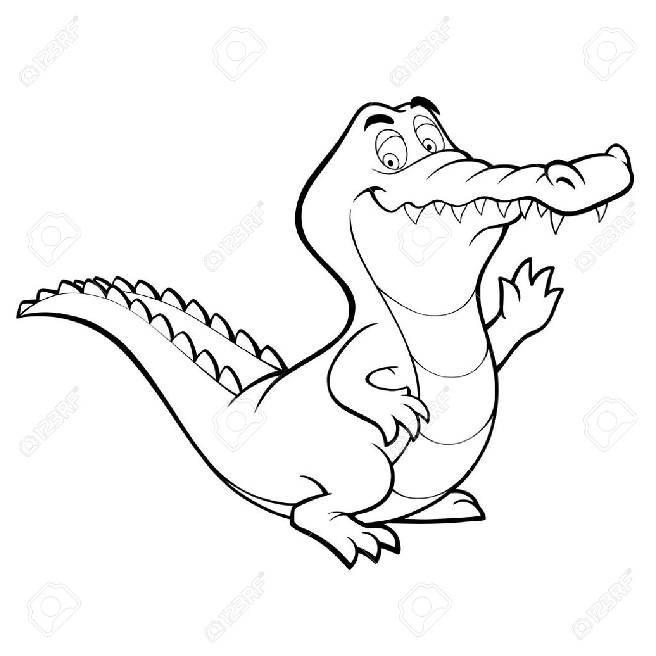 crocodile cartoon alligator line art coloring book black and...