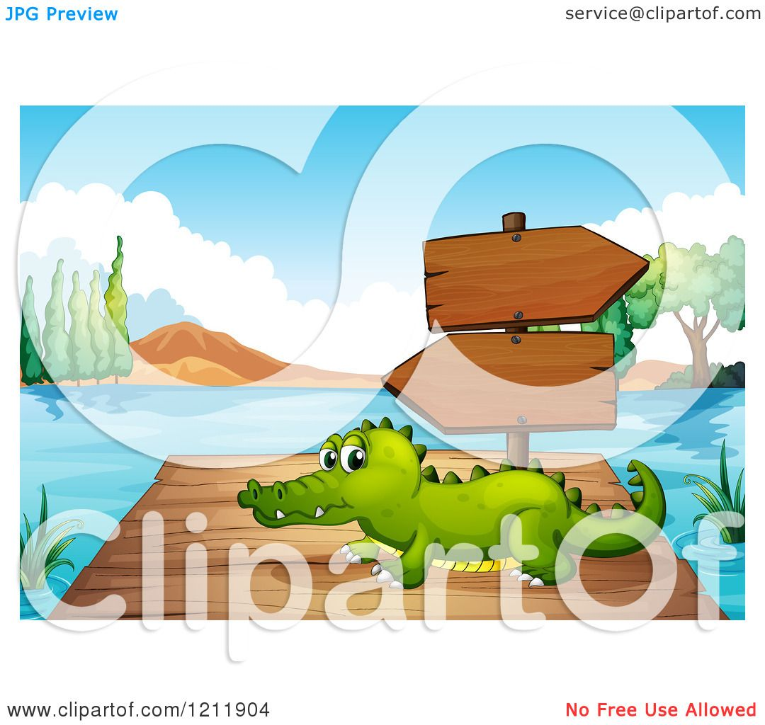 Cartoon of a Crocodile on a Dock with Directional Signs.