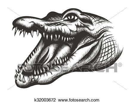 Crocodile head black Clipart.