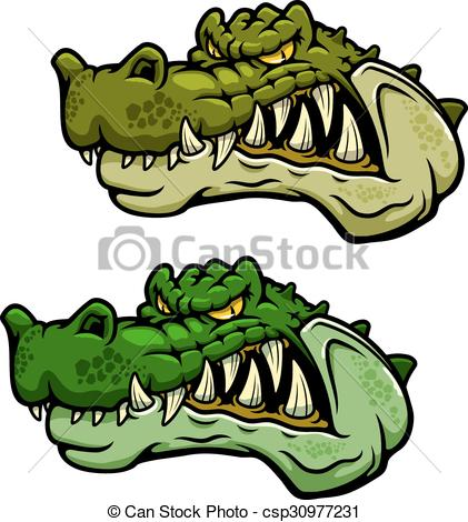 Crocodile character head with bared teeth.
