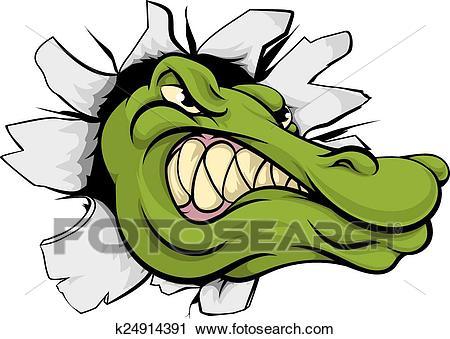 Crocodile or alligator head breaking through wall Clipart.