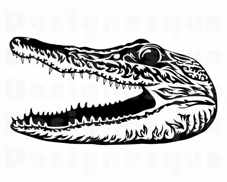 Alligator Head SVG, Crocodile Head Svg, Croc Svg, Alligator Clipart,  Alligator Files for Cricut, Cut Files For Silhouette, Dxf, Png, Eps.