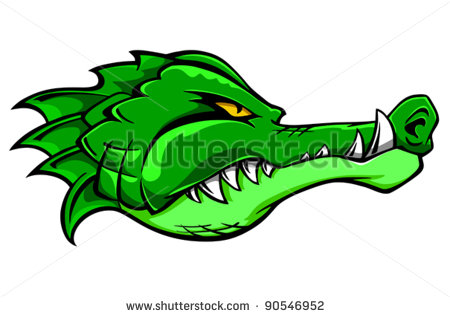 Green alligator crocodile head.