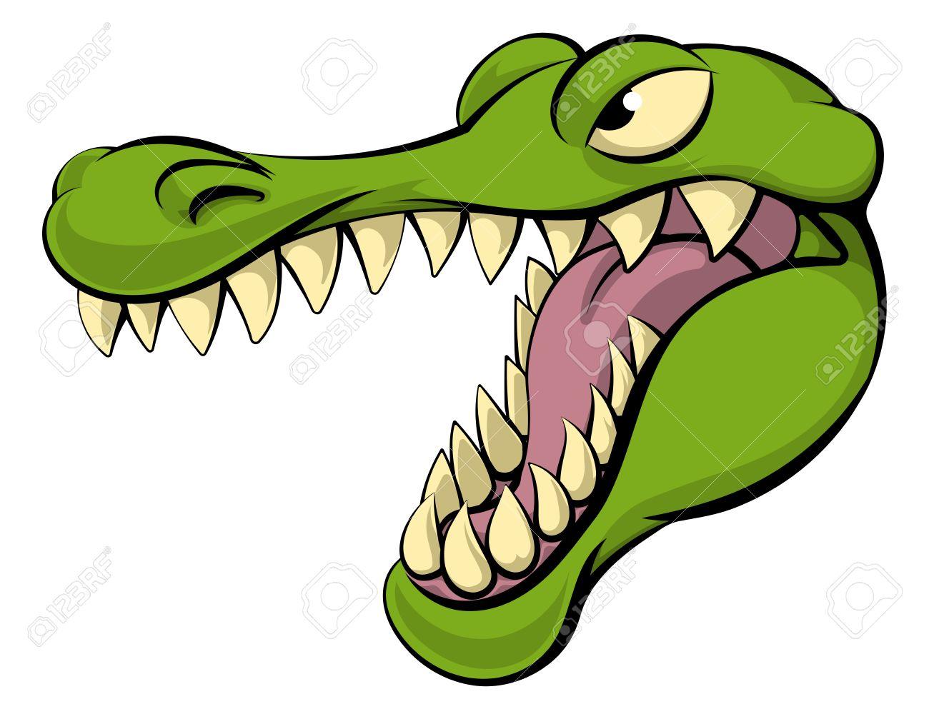 Alligator or crocodile cartoon character sports mascot head.