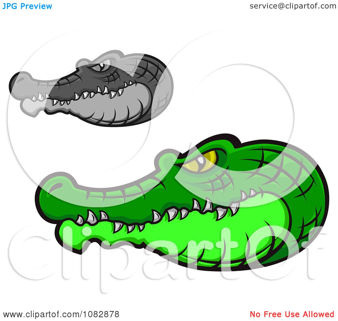 Clipart Grayscale And Green Crocodile Heads.