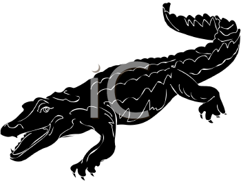 Royalty Free Clip Art Image: Silhouette of a Crocodile.