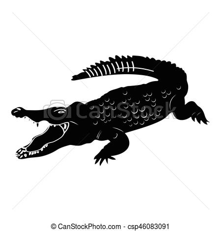 Isolated crocodile silhouette.