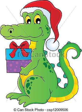 Vector Clipart of Christmas crocodile theme image 1.