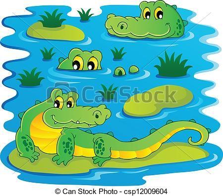 Alligator Swimming Clipart.
