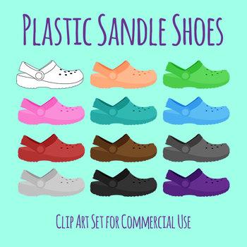 Plastic Sandle Style Shoes Similar to Crocs Clip Art Set for Commercial Use.
