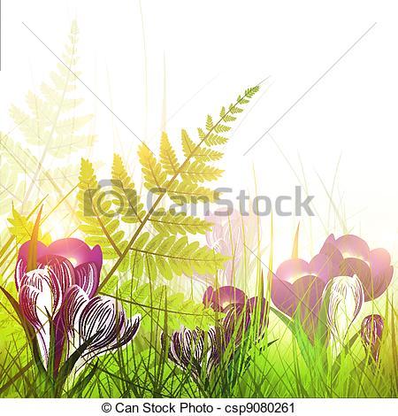 Vector Clip Art of pring meadow with crocus flowers.