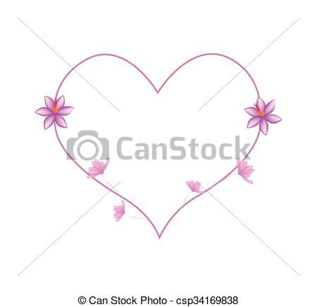 Vectors of Pink Crocus Sativus Flowers in A Heart Shape.