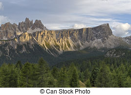 Stock Photo of Lastoni di Formin mountain range bathing in warm.