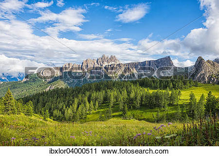 "Stock Photography of ""Lastoi de Formin mountain with blue sky and."