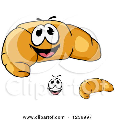 Clipart of a Happy Croissant.