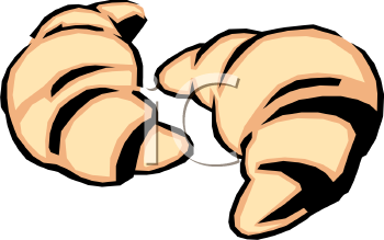 Two Croissants Clip Art.