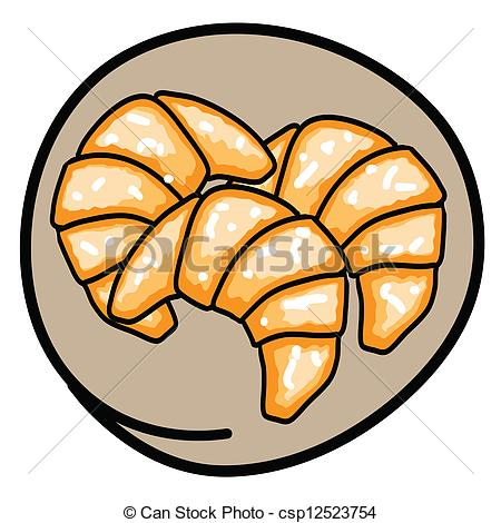 Clipart Vector of Three Fresh Croissants on Round Brown Background.