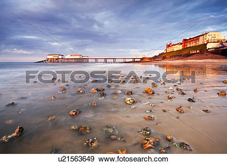 Stock Photograph of England, Norfolk, Cromer. Stormy light over.