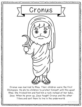 Cronus, Greek Mythology Informational Text Coloring Page Craft or Poster.