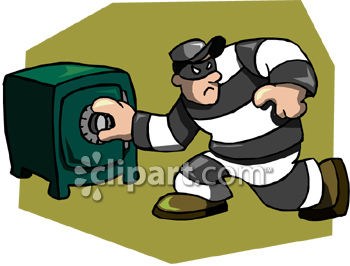 Thief or Crook Cracking a Safe Clip Art.