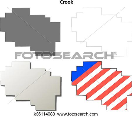 Clipart of Crook County, Oregon outline map set k36114083.