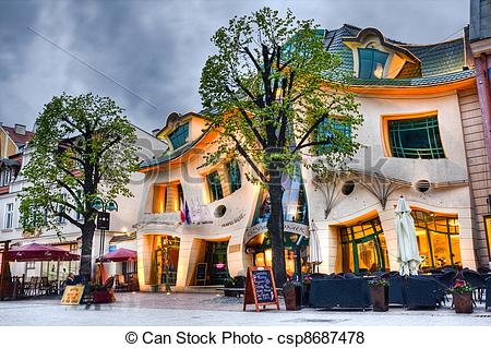 Pictures of crooked house (krzywy domek), Sopot, Poland csp8687478.