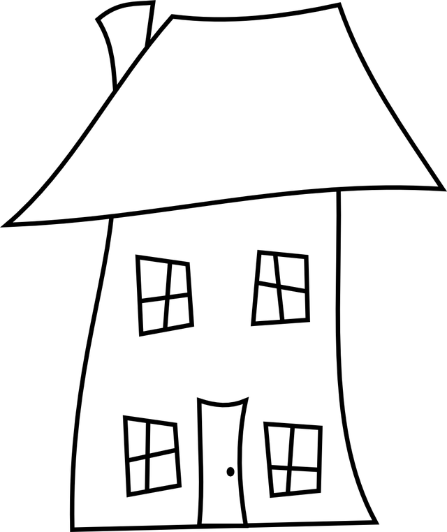 Tilted house clipart.