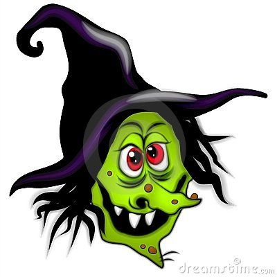A clip art illustration of a scary halloween witch with tall black.