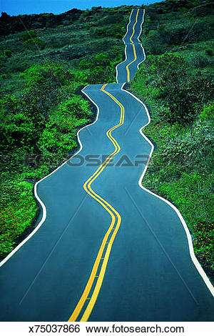 Stock Images of Crooked road, Hawaii x75037866.
