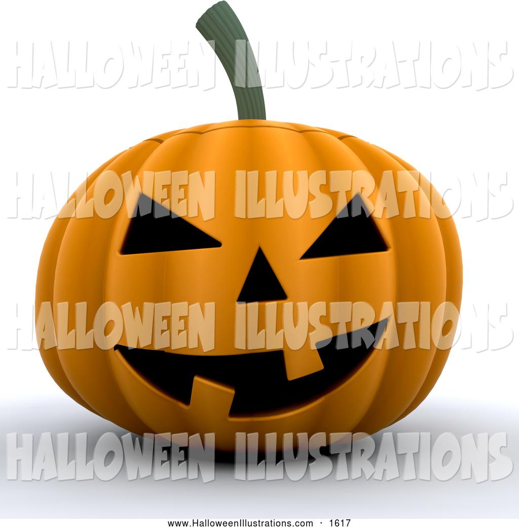Halloween Clip Art of a Grinning Orange Carved Halloween Pumpkin.