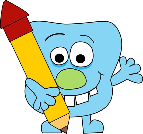 Monster and Pencil Clip Art Image.