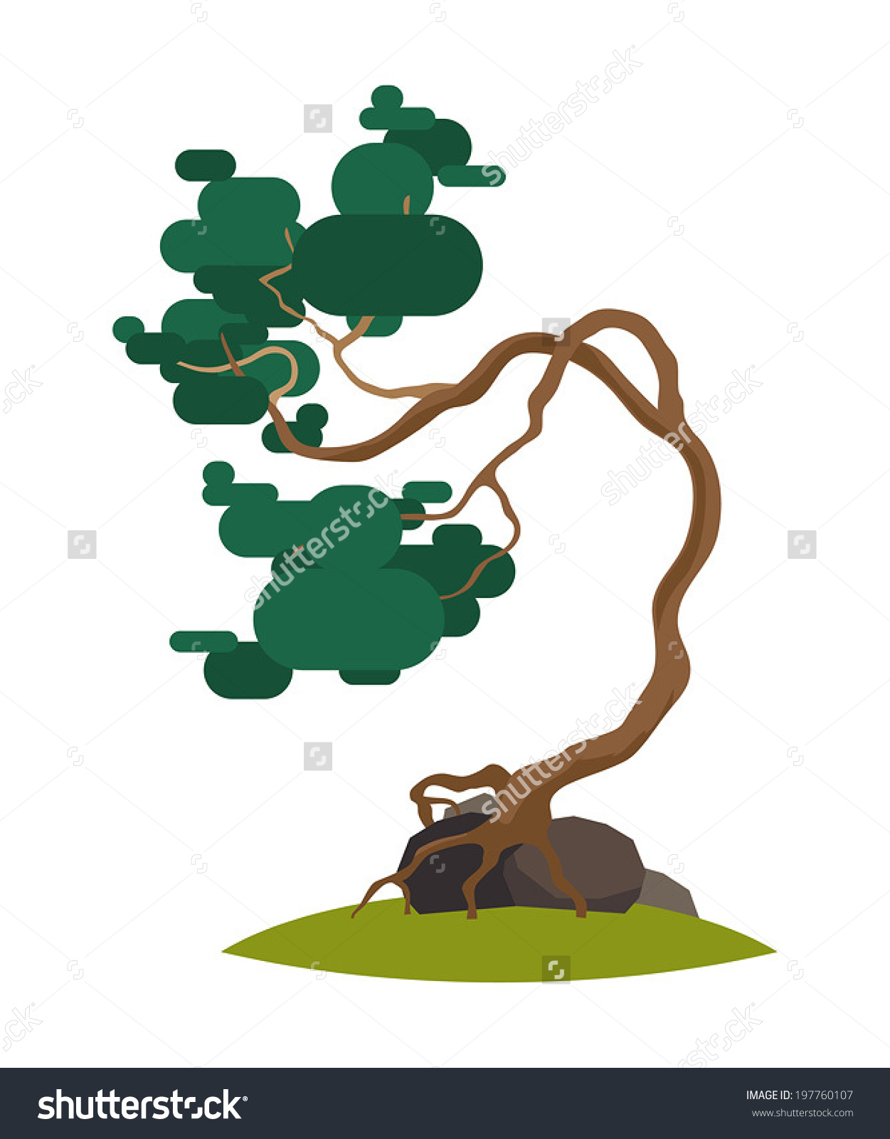 Cartoon Crooked Pine Tree On Transparent Stock Vector 197760107.
