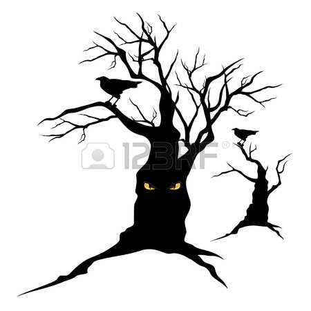 Raven in tree clipart.