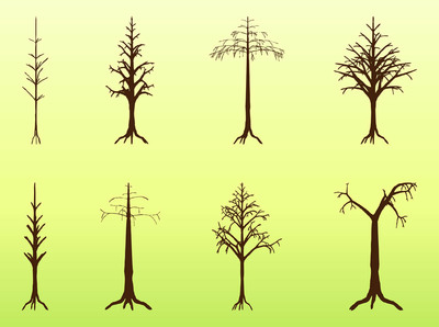 Dead Crooked Tree Pack Silhouette, Vector.
