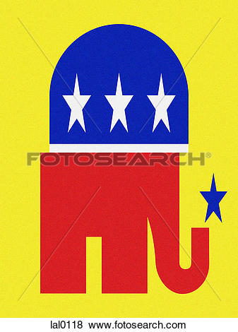 Stock Illustration of A crooked republican elephant lal0118.