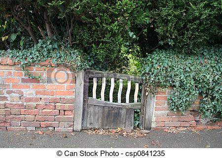 Stock Images of Rustic wood gate and wall.